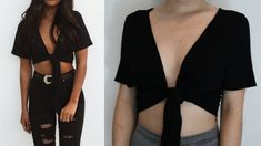 Easy diy no sew tie crop top, diy clothes. Diy Crop Top, Crop Tops, Trash To Couture, Diy Summer Clothes, Diy Clothes Refashion, Thrift Store Diy Clothes, Thrift Stores, Refashioning Clothes, Diy Clothes Videos
