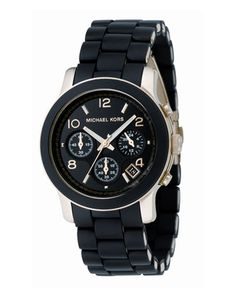 102bfbb8a733 +Midsized+PU+Chronograph+Watch+by+Michael+Kors+at