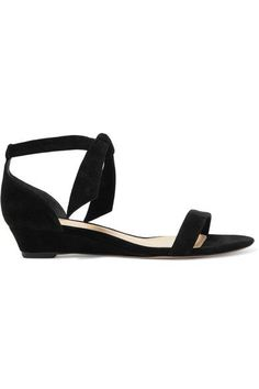 Alexandre Birman - Atena Bow-embellished Suede Wedge Sandals - Black - IT35.5