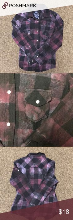 JAK Distressed flannel button down Flannel double front pocket super soft flannel with a hipster look!  Great with jeans! jax Tops Button Down Shirts