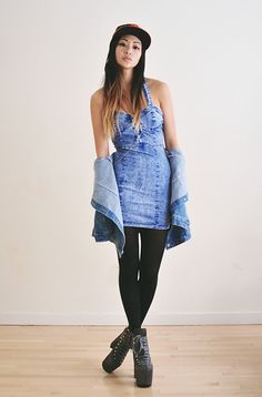 Alyssa from Ordinary People in the Acid Dream Dress and UNIF Hellbound Platforms Girly Outfits, Simple Outfits, Cute Outfits, Fashion Outfits, Women's Fashion, Denim Trends, Love Clothing, Jeans Dress, Girls Jeans