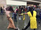 [Self] Thought I's just post another pic of my pyramid head cosplay; Here's me with a Scorpion cosplayer.