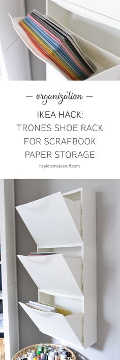 Scrapbook paper out of control? Use this IKEA Hack: Trones Shoe Holders are the perfect size and shape for holding all of your paper! Plus it takes up so little space in your craft room.