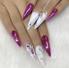 Fuchsia holographic chrome and white marble effect stiletto nails