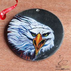 HAND PAINTED EAGLE BIRD NATURAL BLACK LIP SHELL NECKLACE PENDANT ZH30 00113 #ZL #PENDANT