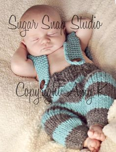 Baby Boy, Baby Knit Pants with suspenders, Baby Boy Pants, Stripe knit pants, Photo Prop, Knitted Pants,