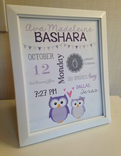BABY GIRL Owl Personalized Framed 8x10 Birth Stats Woodlands Nursery Decor by SudsysSubwaySquiggle