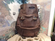 Grimm Bag Brown  Leather drawstring pouch by AbbotsHollowStudios, $45.95