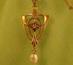 Gold Nouveau Lavaliere Necklace Diamond & by VintageJewelsAndMore on etsy