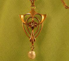 Gold Nouveau Lavaliere Necklace Diamond & by VintageJewelsAndMore on etsy