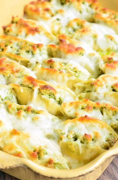 Cheesy Pesto Chicken Stuffed Shells | from willcookforsmiles.com