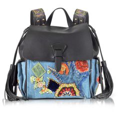 Roberto Cavalli Designer Handbags Black Soft Nappa Leather and... (€3.000) ❤ liked on Polyvore featuring bags, backpacks, handbags, grunge backpack, day pack backpack, roberto cavalli, draw string backpack and embroidered backpack