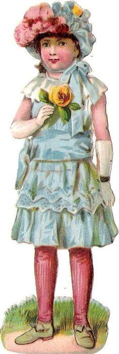 Oblaten Glanzbild scrap die cut chromo Kind child 12,8 cm Blume Rose