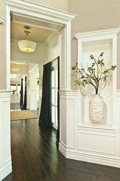 Love the trim! These are the colors of our walls and I don't like them - maybe with this trim!