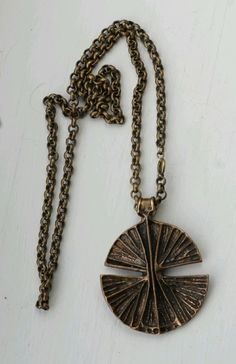 Unn Tangerud for Uni David Andersen Vintage Norwegian Bronze Modernist Necklace  #DavidAndersen