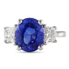3.77 CT #LARGE #BLUE #SAPPHIRE #THREESTONE #ENGAGEMENTRING IN #WHITE #GOLD #LAURENB #LAURENBJEWELRY