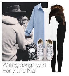 """REQUESTED: Writing songs with Harry and Niall"" by style-with-one-direction ❤ liked on Polyvore featuring Topshop, WithChic, Dot & Bo, Converse, OneDirection, harrystyles, 1d, NiallHoran and niall horan one direction 1d harry styles"