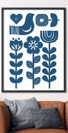Scandinavian Pattern, Scandinavian Folk Art, Folk Art Flowers, Flower Art, Lino Art, Folk Print, Swedish Decor, Polish Folk Art, Handmade Stamps