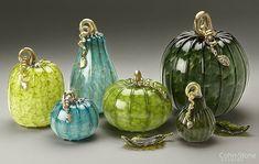 "Forest Mottled Pumpkins — Hand Blown Glass 5""w to 9""w"