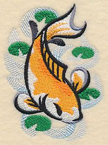 Koi Fish in Asian Watercolor design (L3618) from www.Emblibrary.com