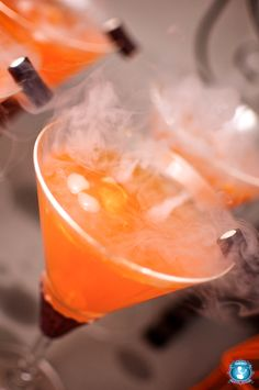 The recipe is:  1.5 oz. Smirnoff Black Cherry Vodka  3 oz. Orange soda (we like Crush)  2 tsp. brown sugar    Mix your ingredients in a shaker and pour slowly into your glass.    For a spooky effect, add a little dryice. You only need a piece the size of a sugar cube and it will bubble and smoke for…