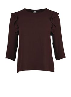 BLOUSE WITH FRILL DETAILS Wine