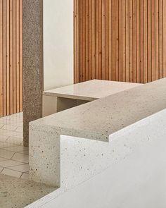 Bespoke terrazzo furniture in the new Arquia's office by @ripolltizon. First photos...  #terrazzotables #terrazzobyhuguet Photo by #josehevia