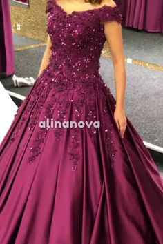 elegant purple satin ball gown prom dresses lace appliques beaded off the shoulder wedding gowns Gorgeous Lace Beaded V-neck Off The Shoulder Ball Gowns Prom Dresses – alinanova Indian Wedding Gowns, Indian Bridal Outfits, Indian Gowns Dresses, Bridal Dresses, Beaded Dresses, Dress Wedding, Engagement Dress For Bride, Engagement Gowns, Frock Dress