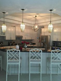 Lauren's new kitchen lighting. I want this look with my new lighting! Hickory Kitchen, New Kitchen, Taylor Morrison, Kitchen Lighting, Models, Table, Furniture, Home Decor, Templates
