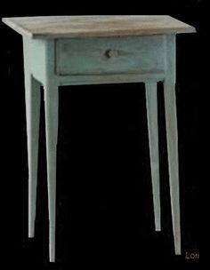 NEW ENGLAND PINE FEDERAL 1-DRAWER STAND IN BLUE PAINT. Circa 1790-1810