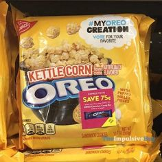 My Oreo Creation Kettle Corn Oreo Cookies. Weird Oreo Flavors, Cookie Flavors, Strawberry Cereal, Starbucks, Junk Food Snacks, Kettle Corn, Food Wishes, Weird Food, Food Facts