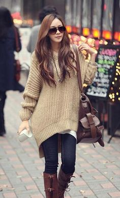 Warm Stylish Hooded High Low Women Oversized Pullover.