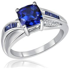 $19.99 - 1.5 Carat Blue Sapphire & Diamond Accent Sterling Silver Ring