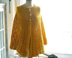 Vintage Hand Crocheted Poncho in Mustard