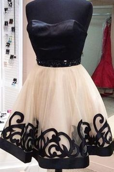 Black Strapless Homecoming Dress, Applique Homecoming Dresses,Sexy Mini Party Dresses