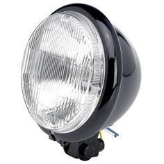 "Cycle Standard - 5-3/4"" diameter Black Bottom Mount Halogen Headlight $58"