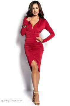 """Dhalia"" Red Long Sleeve Plunging Neckline Tulip Skirt Dress"