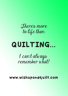 There's more to life than QUILTING... I can't always remember what!