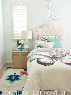 """""""This charming monogram was used as a focal point above a delightful little girl's bed, she will love it for years to come!"""" ~ Kate, Centsational Girl blog"""