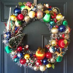 """Vintage Ornament Christmas Wreath Gnomes Deer Tree Topper Bird Bottlebrush 23"""""""