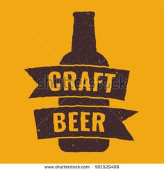 Craft beer. Flat vector icon, logo, symbol, design illustration on yellow background. Can be used for t-shirt, postcard, banner, business.