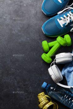Fitness concept background by karandaev. Fitness concept background with sneaker. - Fitness concept background by karandaev. Fitness concept background with sneakers, dumbbells, water - Fitness Memes, Fitness Icon, Fitness Tracker, Fitness Motivation, Free Fitness, Fitness Backgrounds, Workout Pictures, Fitness Pictures, Workout Posters