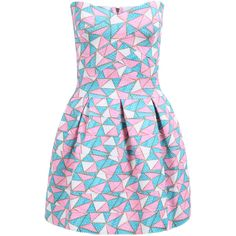 SheIn(sheinside) Pink Strapless Geometric Print Flare Dress ($24) ❤ liked on Polyvore featuring dresses, multicolor, a line dress, short strapless dresses, off the shoulder dress, sleeveless dress et strapless a line dress