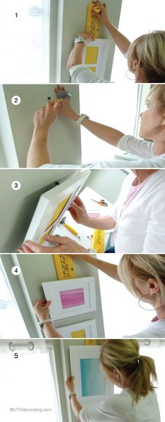 Follow these easy steps to hang your frames to avoid making extra holes in your walls.