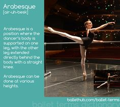 Learn the ballet term definition for Arabesque from BalletHub's complete ballet terms dictionary. Ballet Stretches, Ballet Moves, Dance Moves, Ballet Steps, Everybody Dance Now, Ballet Body, Dance Technique, Dancers Body, Training