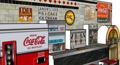 Vintage Diner Pop-Up Paper Model - by Papermau - Next Project Vintage Diner, Paper Furniture, Paper Models, Pop Up, Art Deco, Templates, Make It Yourself, Projects, Photos