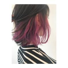 12 Excellent Hair Dye Violet Black - Hair I want - Hair Styles Dyed Hair Purple, Hair Color Pink, Hair Dye Colors, Dye My Hair, Pink Purple, Under Hair Dye, Under Hair Color, Hidden Hair Color, Long Layered Hair