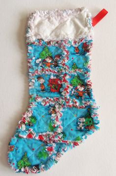 Charlie Brown Christmas stocking Rag Quilt style by dmaeredesigns, $25.00