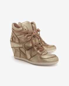 ShopStyle: AshBowie Distressed Metallic Wedge Sneaker
