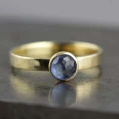 Blue Sapphire Engagement Ring  Rose Cut by SarahHoodJewelry